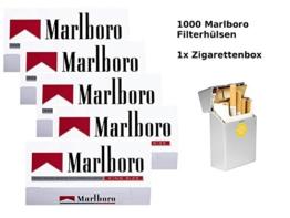 1.000 Marlboro Rot Filterhülsen + hochwertige Zigarettenbox - 1